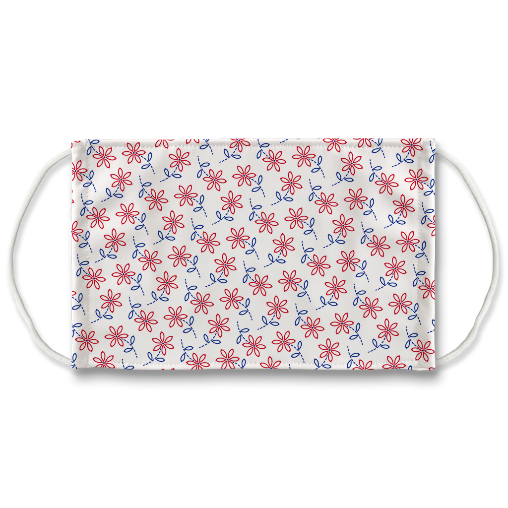 Red Blue Embroidered Pattern 1  Face Mask