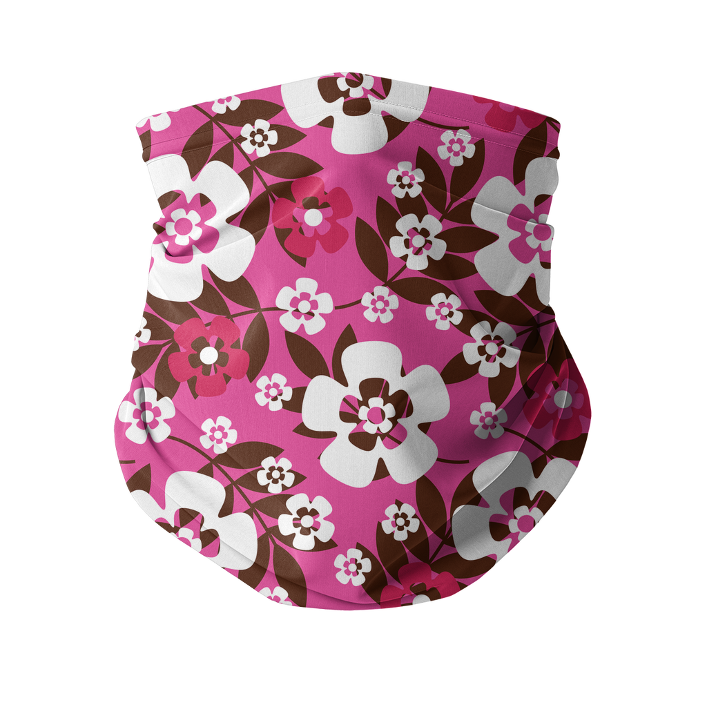 Seamless Pink Red Tropical Neck gaiter 1 Sublimation Neck Gaiter
