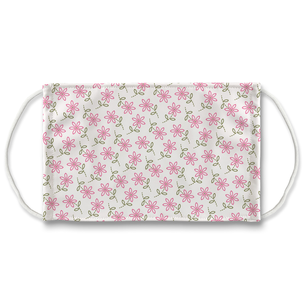 Pink Green Embroidered Pattern 1  Face Mask
