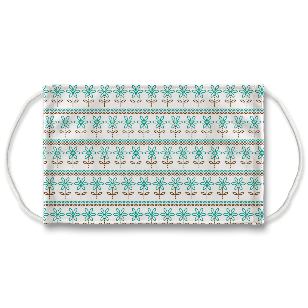 Turquoise Brown Embroidered Pattern 3  Face Mask