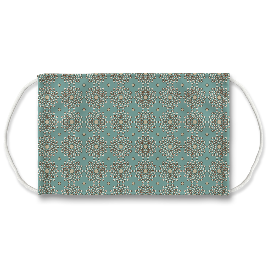 Patterns Aqua Tan Brown 12  Face Mask