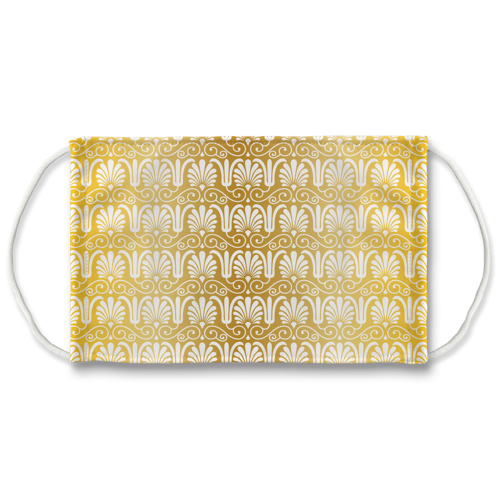 Gold Greek Ornamental Pattern 4  Face Mask