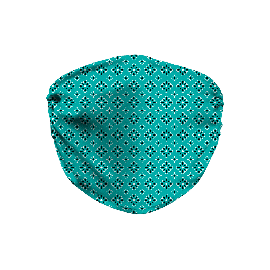 Turquoise Blue Bandana Pattern 9  Face Mask