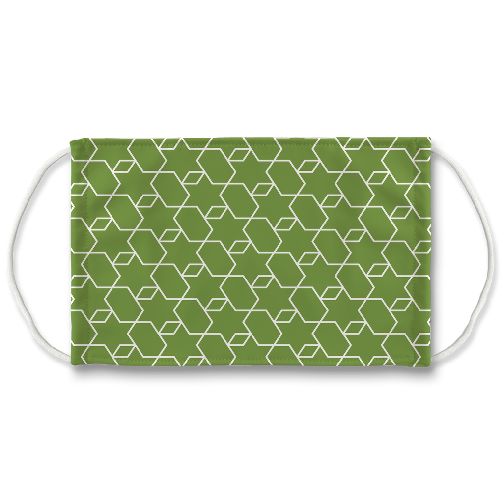 Green Moroccan Pattern 3  Face Mask