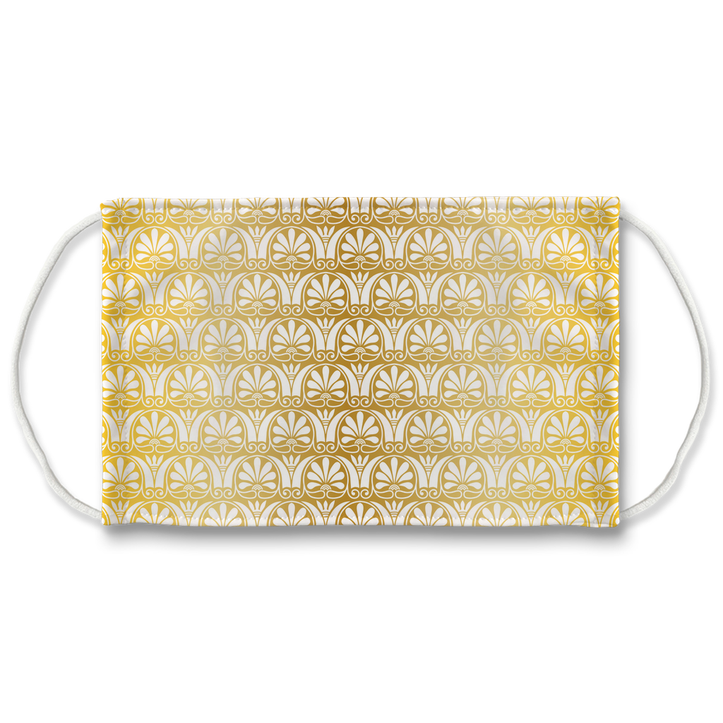 Gold Greek Ornamental Pattern 16  Face Mask
