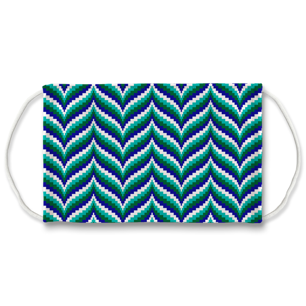 Blue Green Bargello Pattern 6  Face Mask