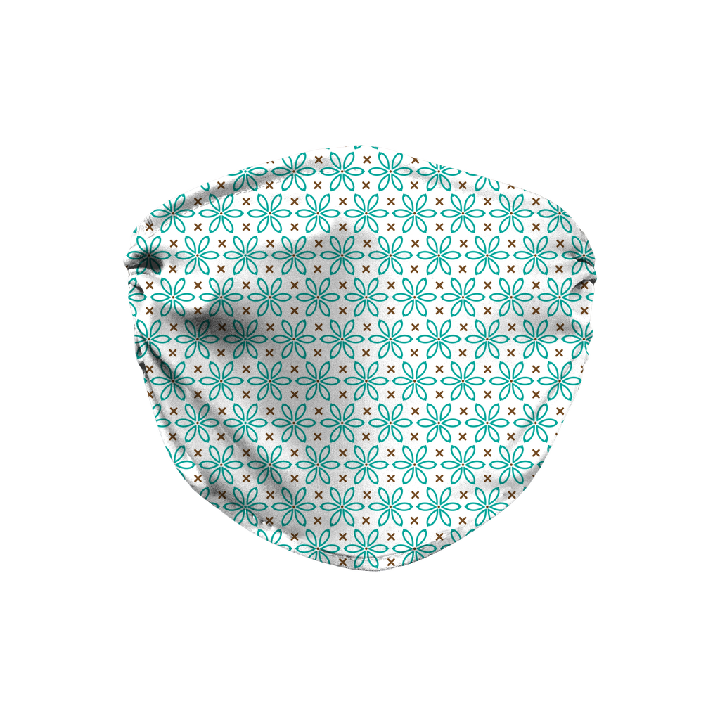 Turquoise Brown Embroidered Pattern 10  Face Mask