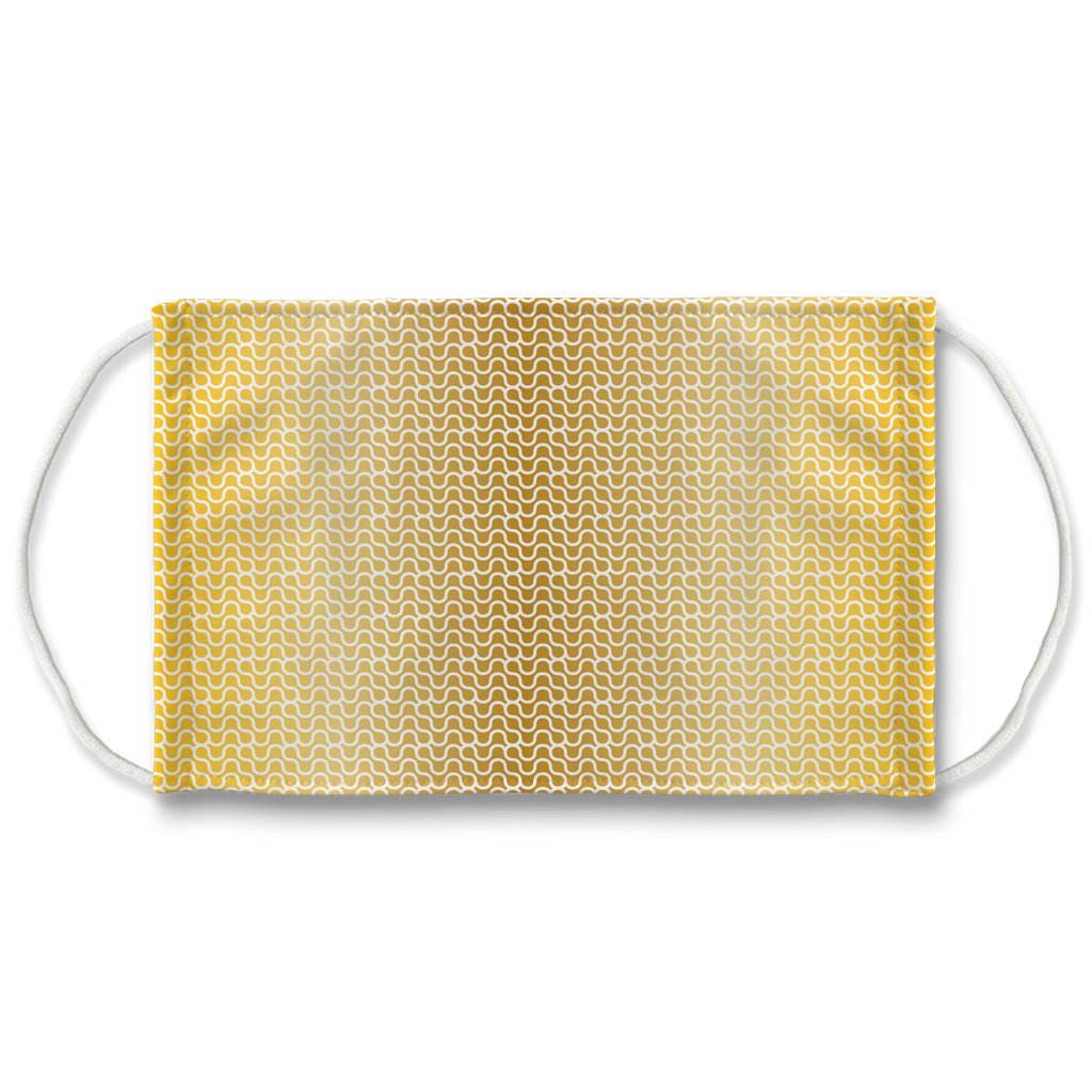 Gold White Mod Geometric 8  Face Mask