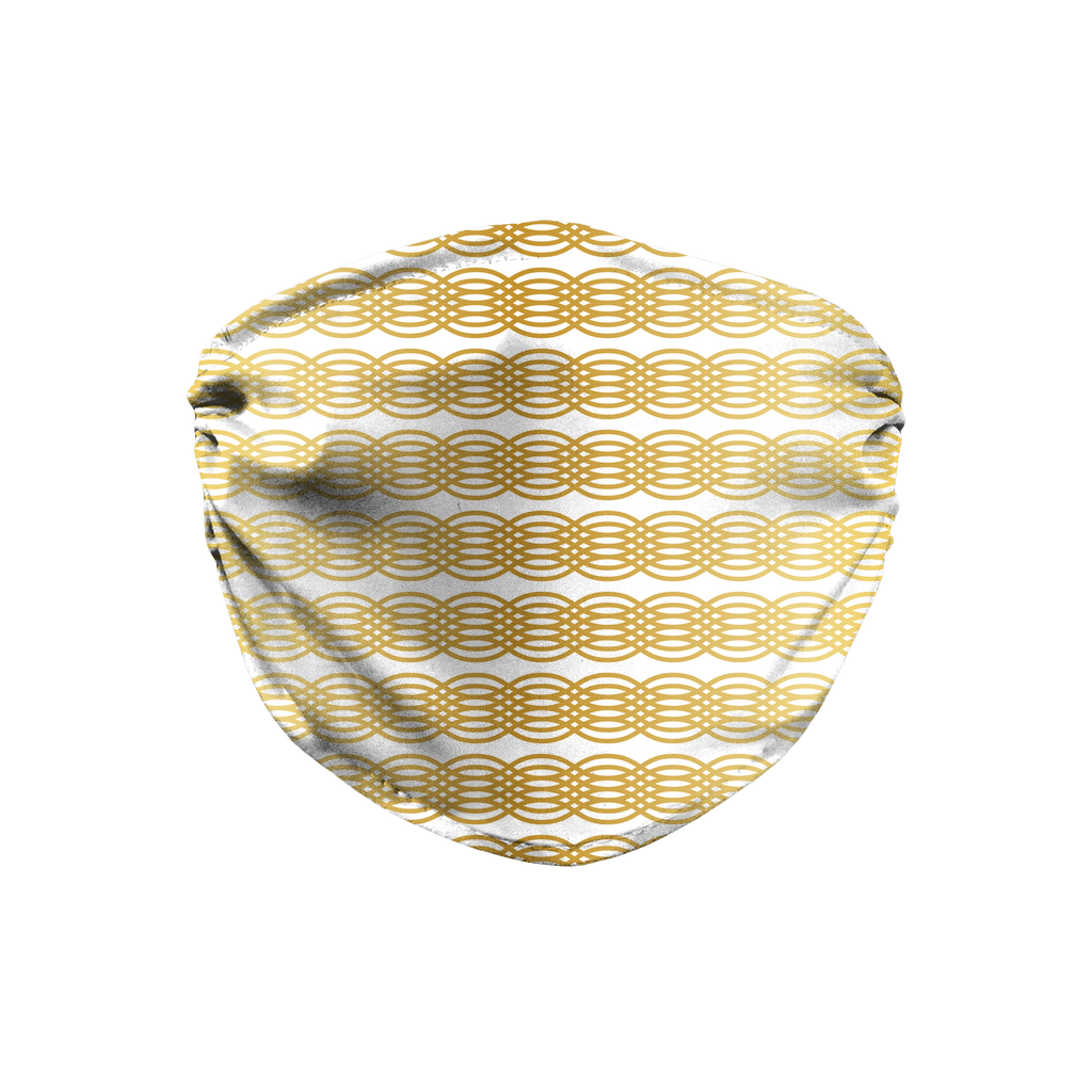Gold White Mod Geometric 1  Face Mask