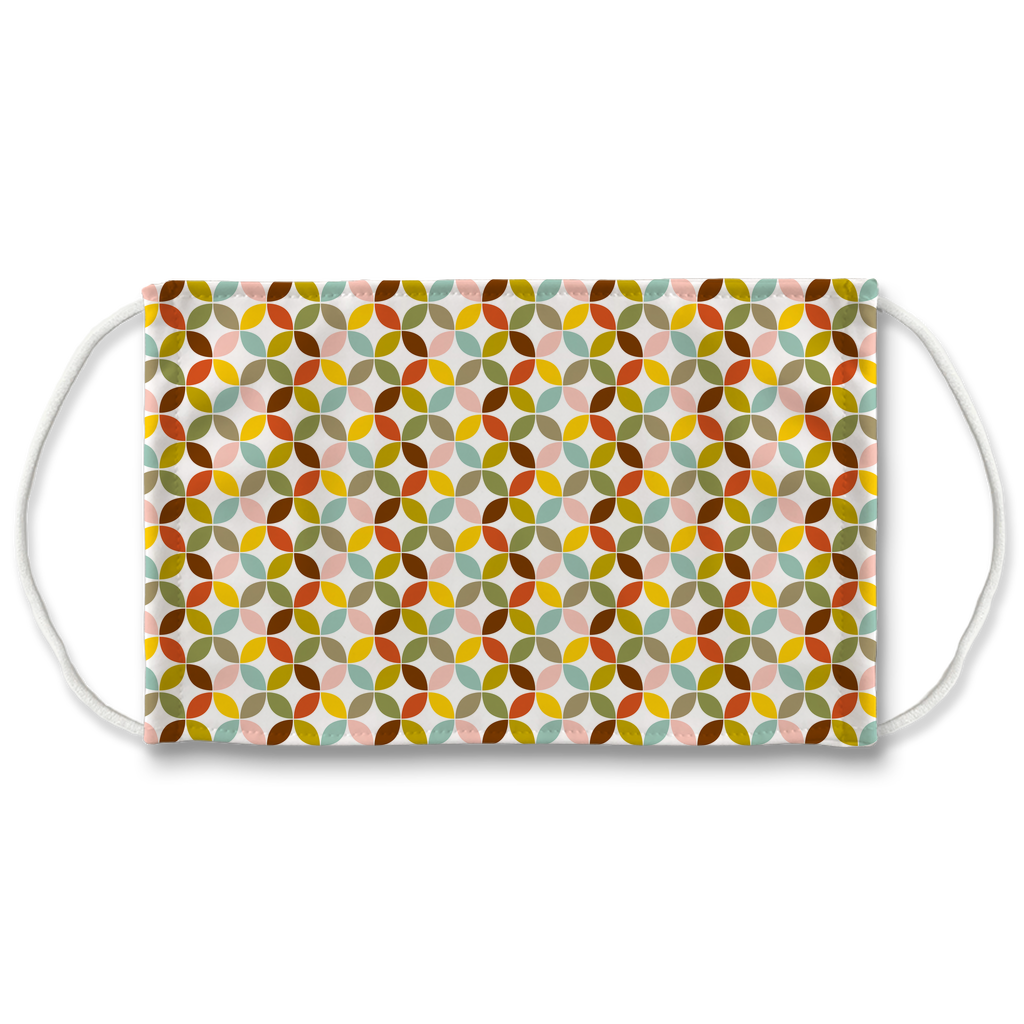 Retro Palette Geometric Pattern 7  Face Mask