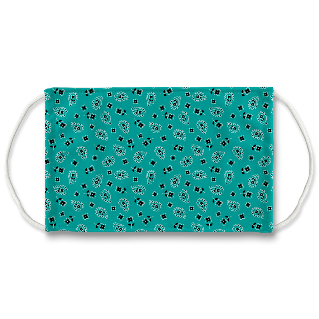 Turquoise Blue Bandana Pattern 3  Face Mask