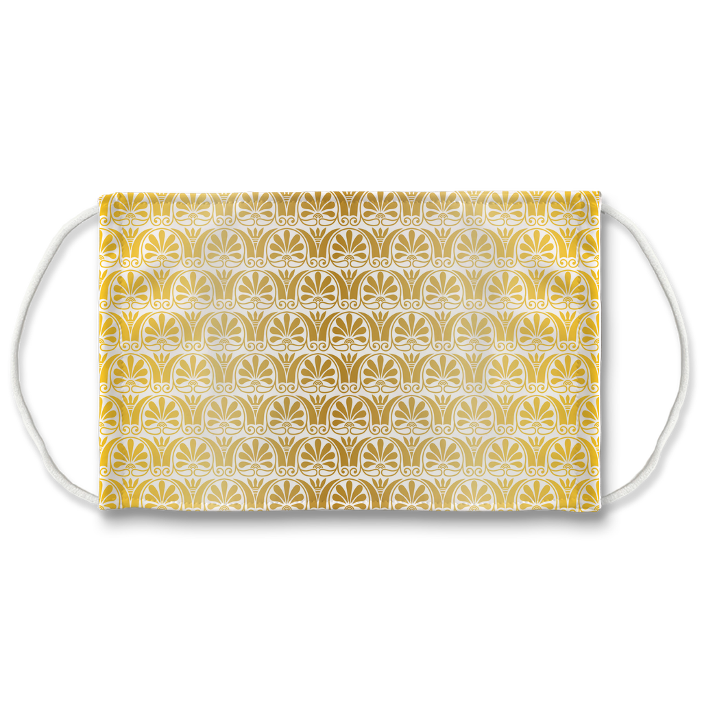 Gold Greek Ornamental Pattern 15  Face Mask