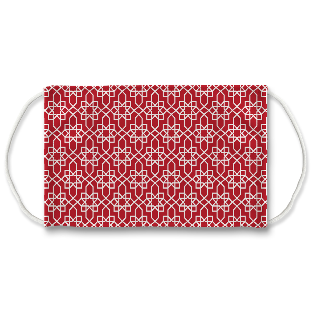 Red Moroccan Pattern 10  Face Mask