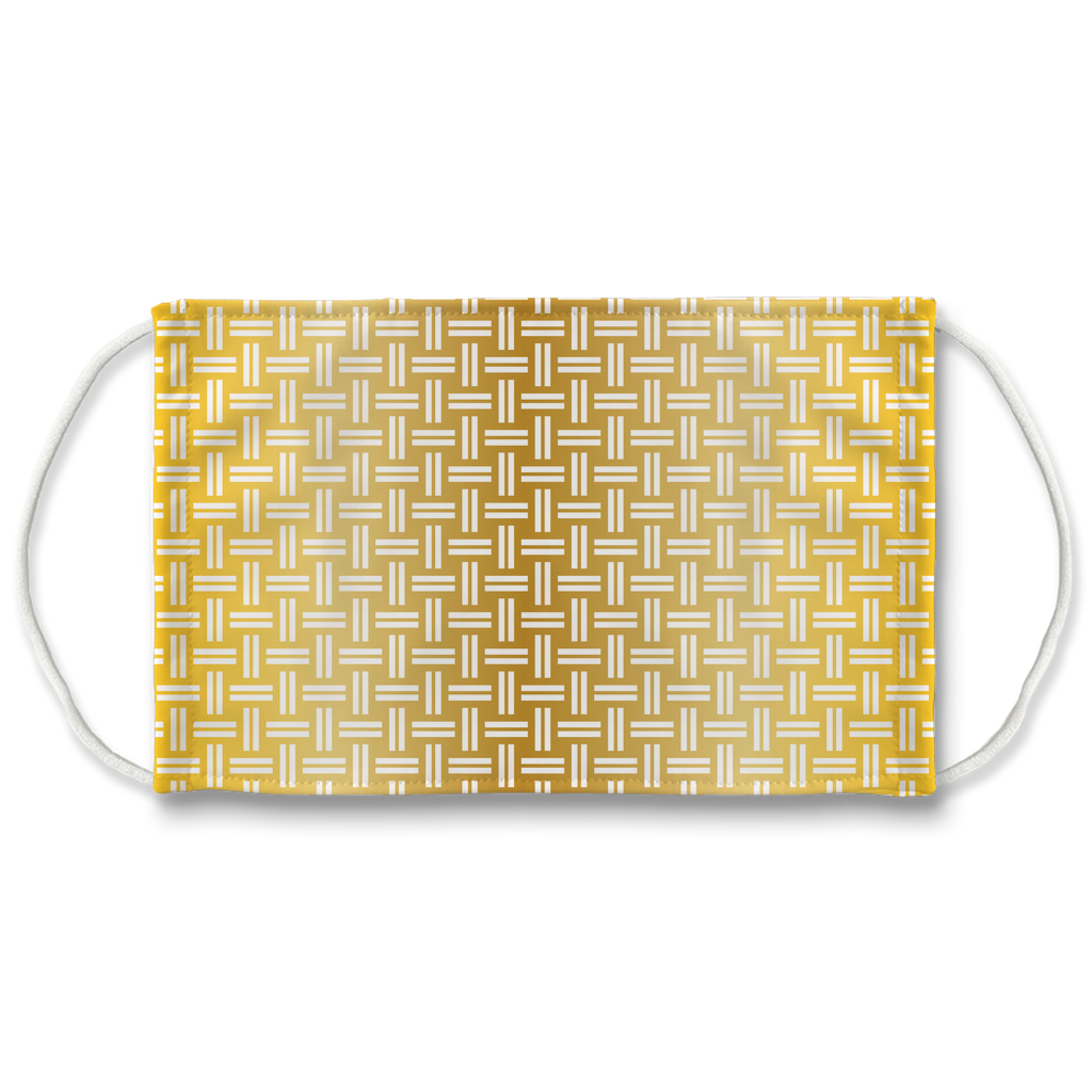 Metallic Lattice Pattern gold 3  Face Mask
