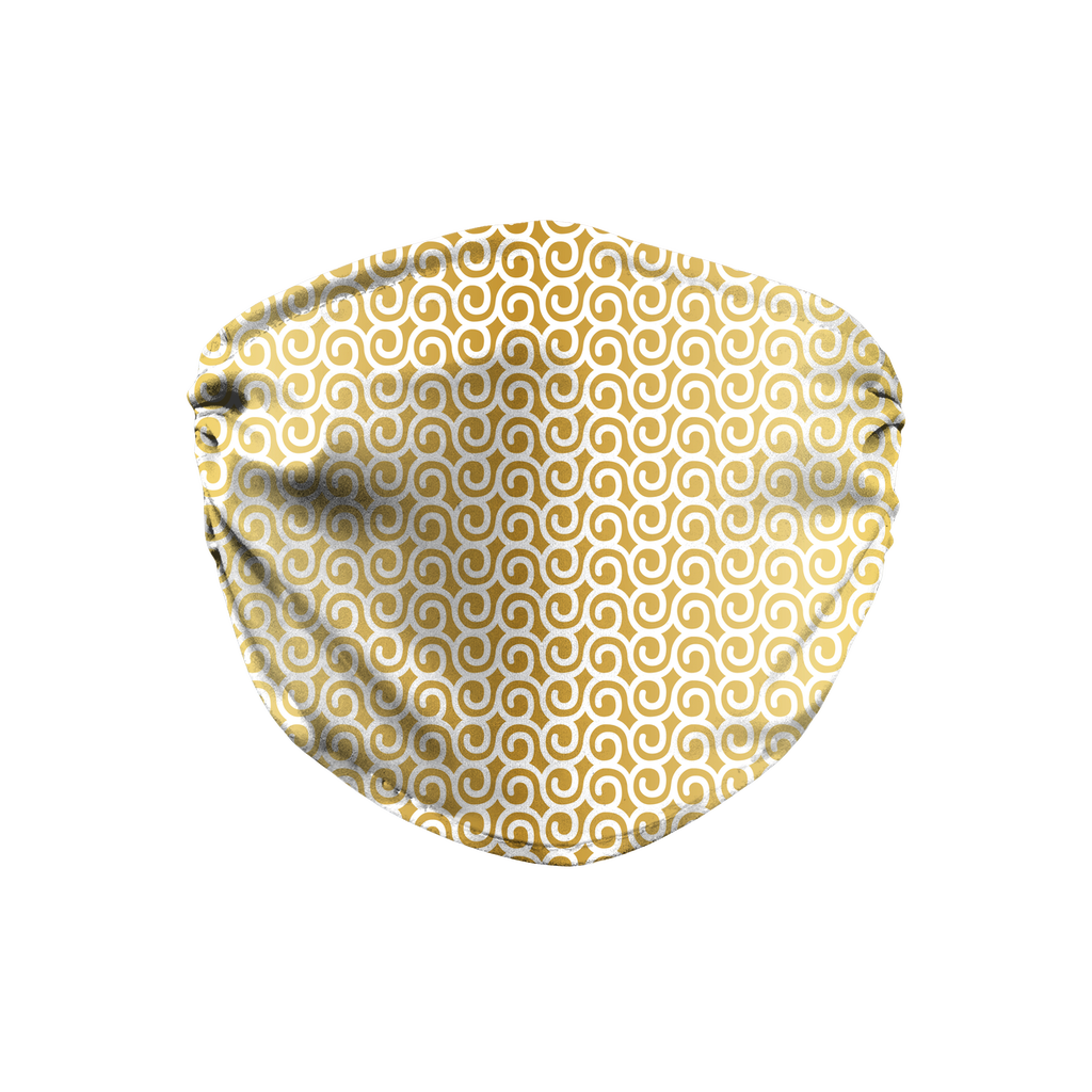 Gold White Mod Geometric 4  Face Mask