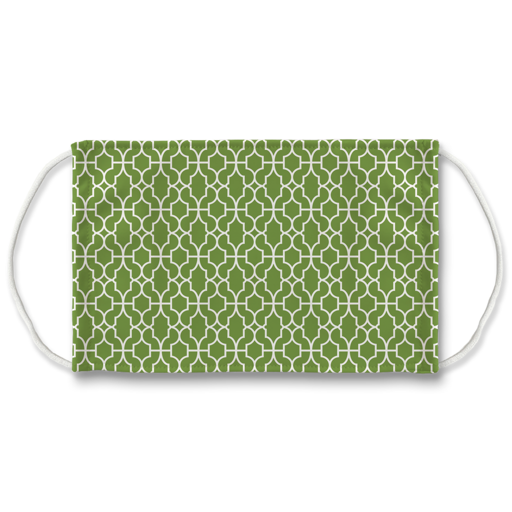Green Moroccan Pattern 6  Face Mask