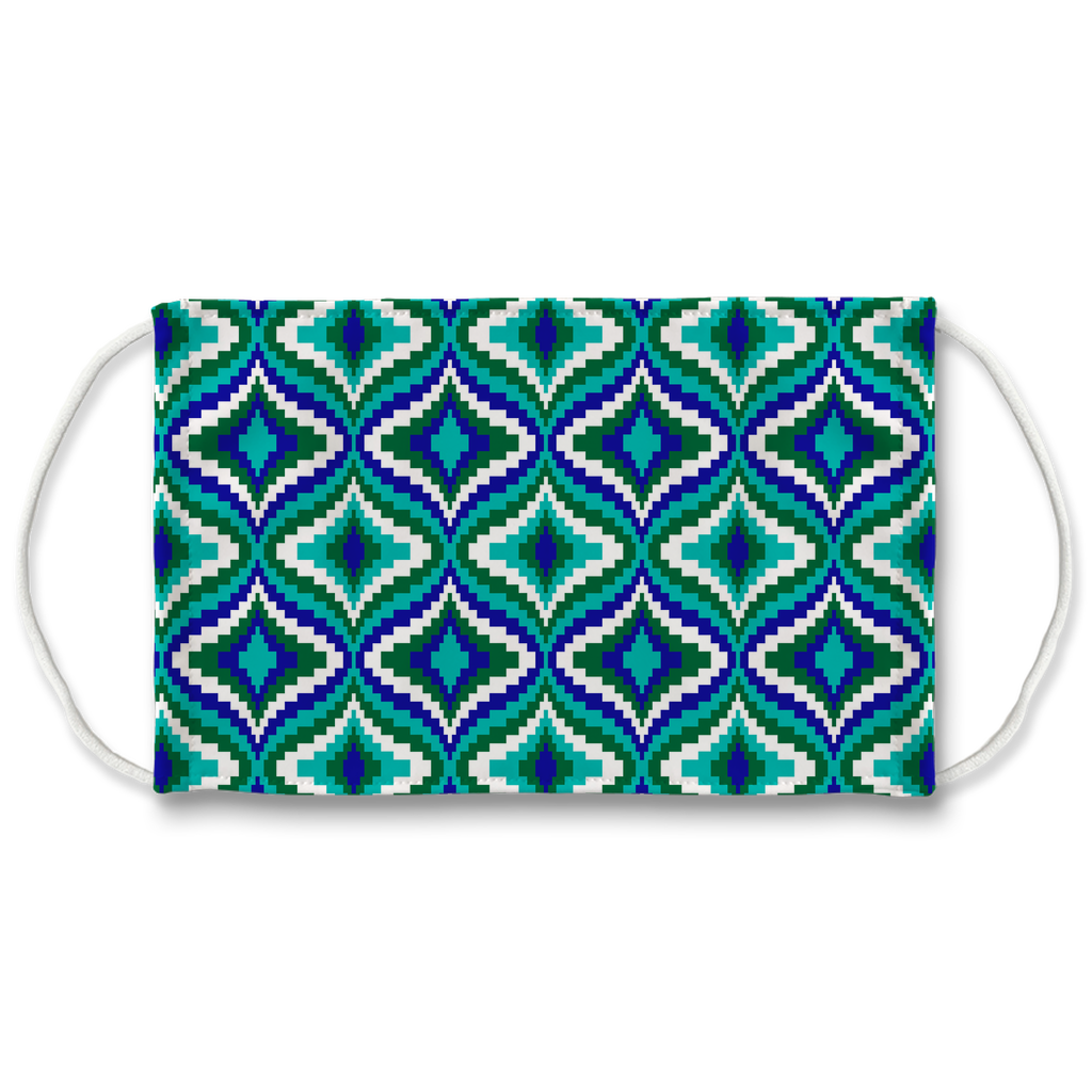 Blue Green Bargello Pattern 2  Face Mask