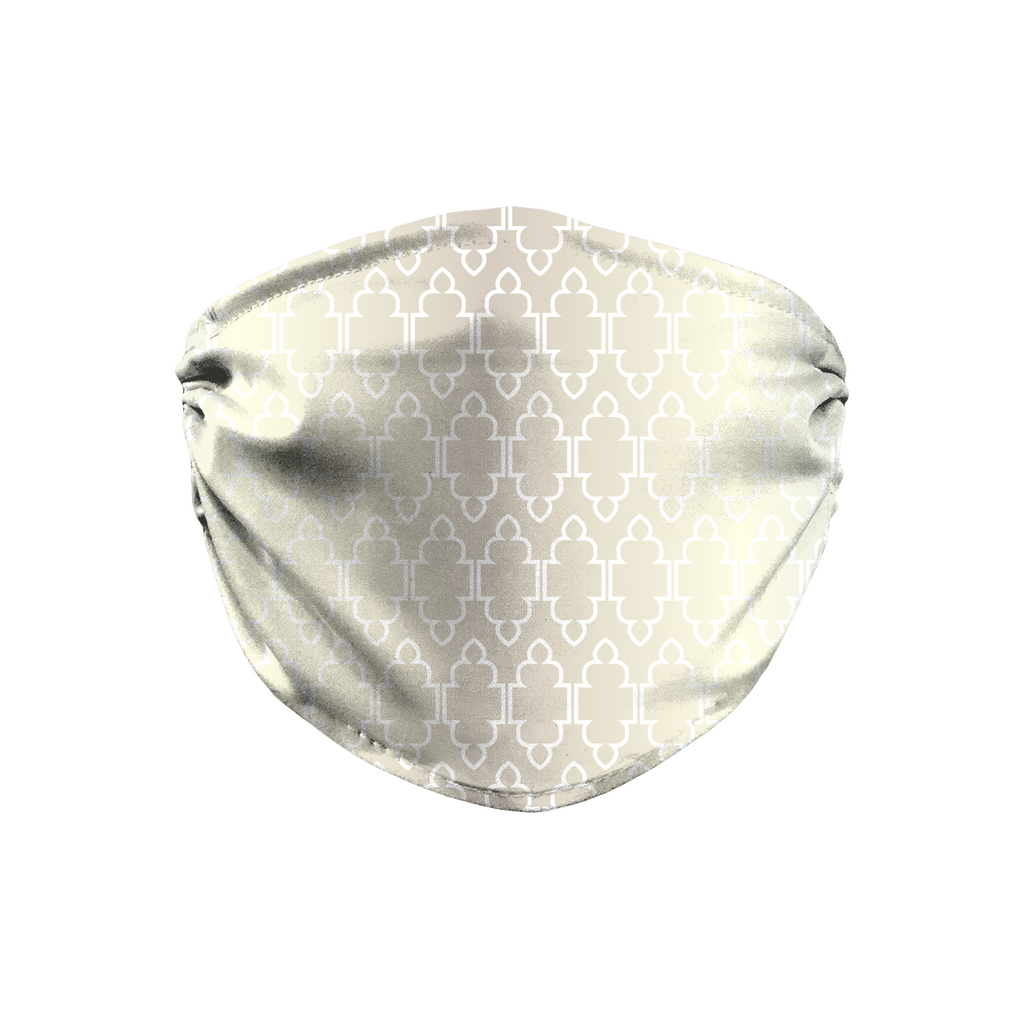 Silver Moroccan Pattern 5  Face Mask