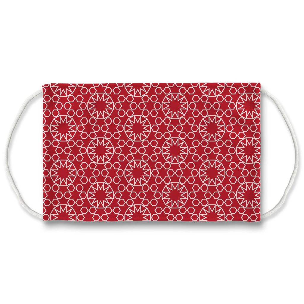 Red Moroccan Pattern 4  Face Mask