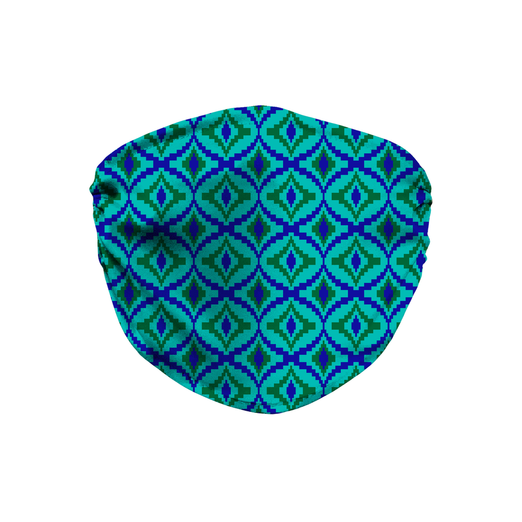 Blue Green Bargello Pattern 4  Face Mask