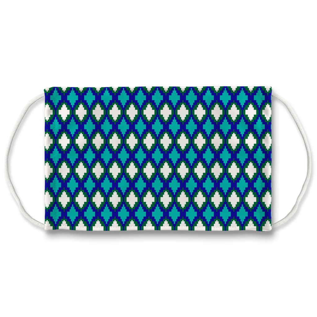 Blue Green Bargello Pattern 9  Face Mask