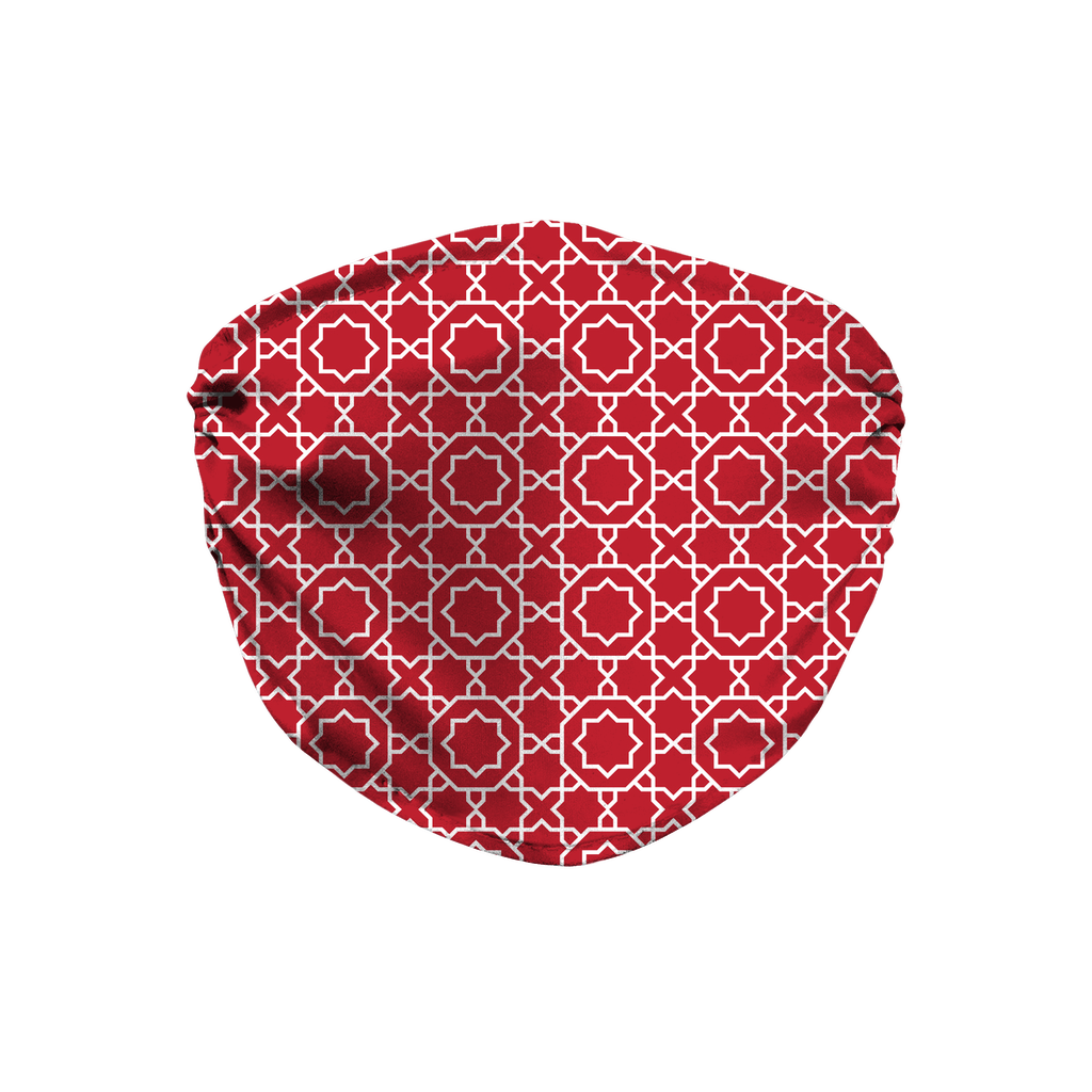 Red Moroccan Pattern 5  Face Mask