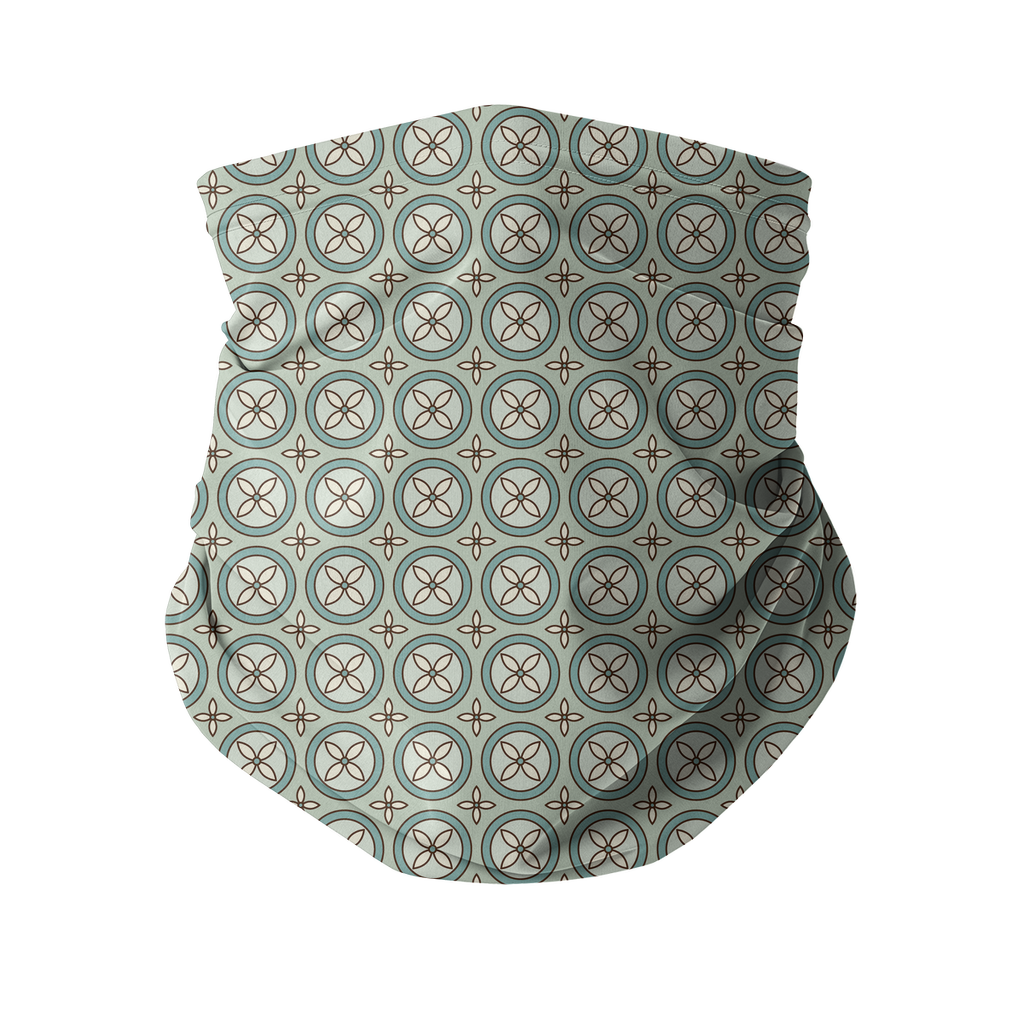 Seamless Patterns Aqua Tan Brown Neck gaiter 15 Sublimation Neck Gaiter