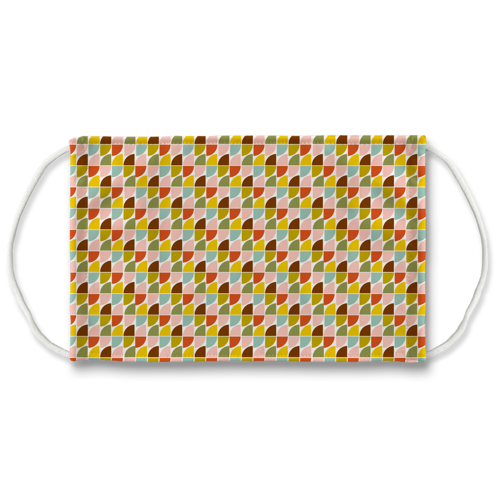 Retro Palette Geometric Pattern 5  Face Mask