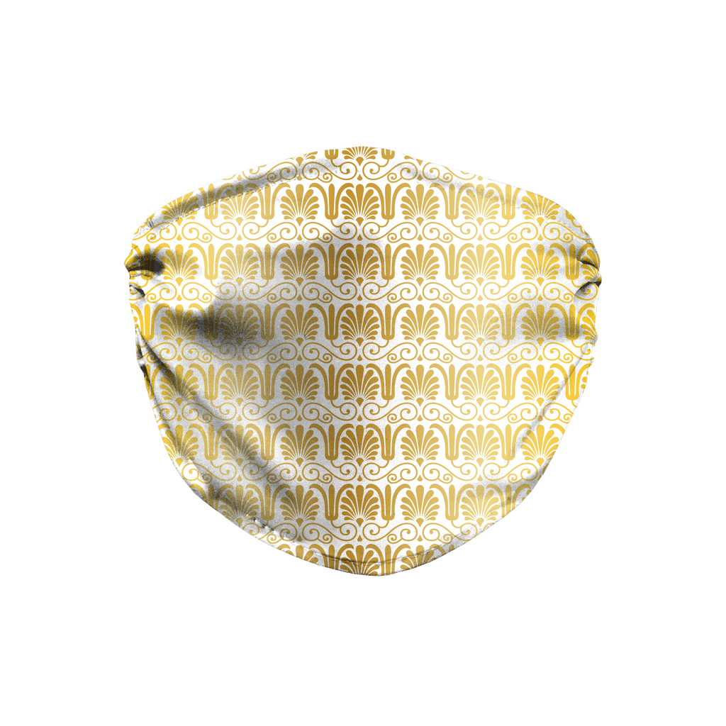 Gold Greek Ornamental Pattern 3  Face Mask
