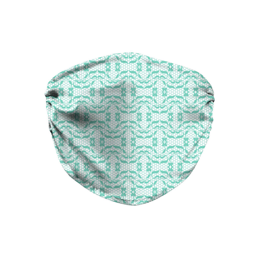 Aqua Lace Pattern 8  Face Mask