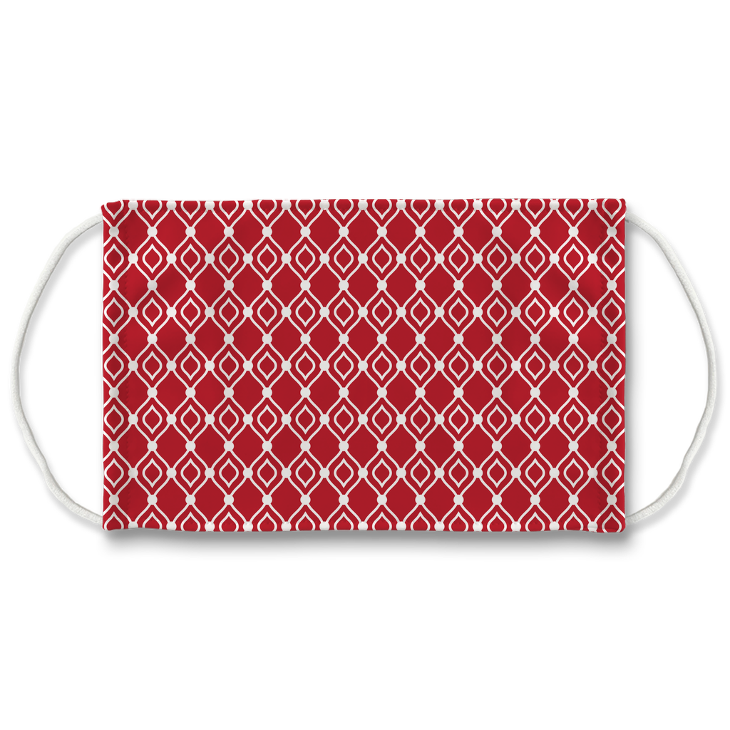 Red Moroccan Pattern 8  Face Mask