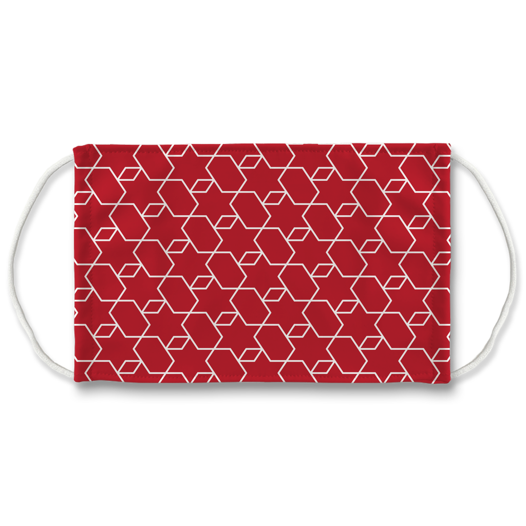 Red Moroccan Pattern 3  Face Mask