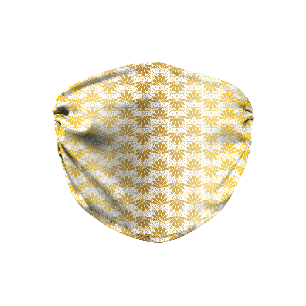 Gold Greek Ornamental Pattern 5  Face Mask