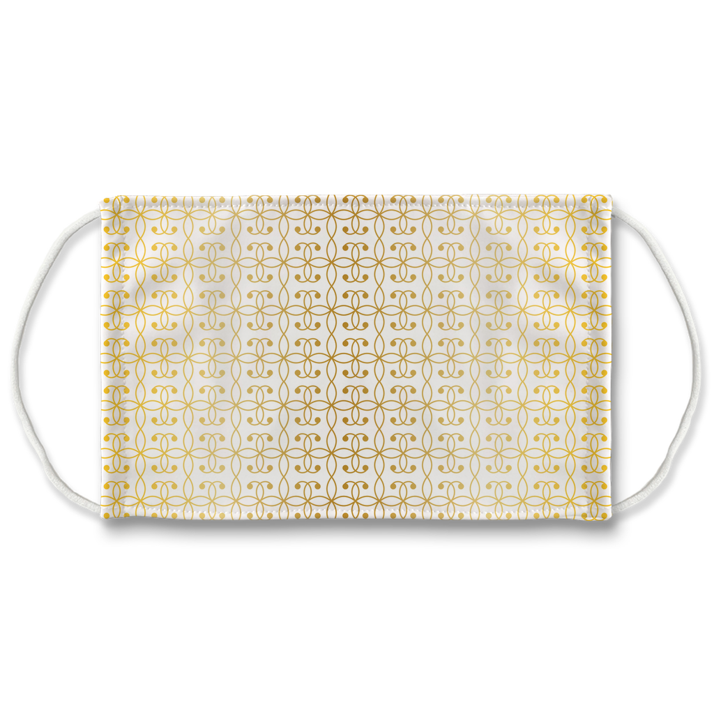 Gold Wrought Iron Pattern 1  Face Mask