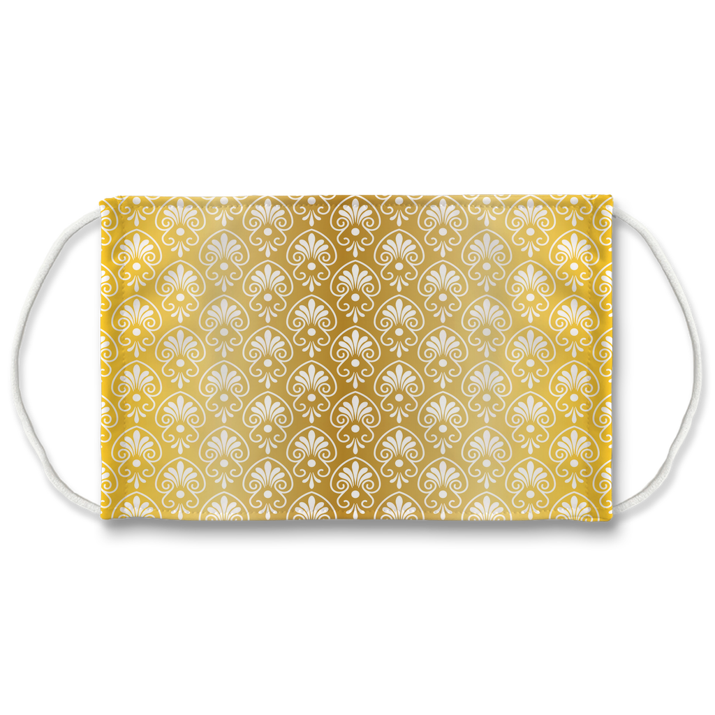 Gold Greek Ornamental Pattern 14  Face Mask