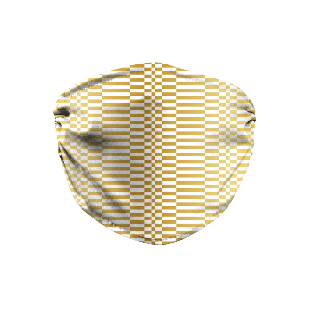 Gold White Mod Geometric 10  Face Mask