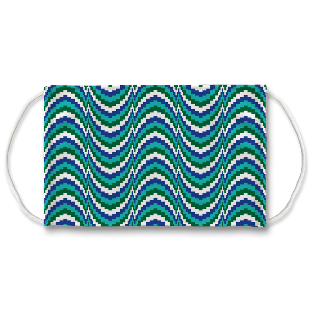 Blue Green Bargello Pattern 10  Face Mask