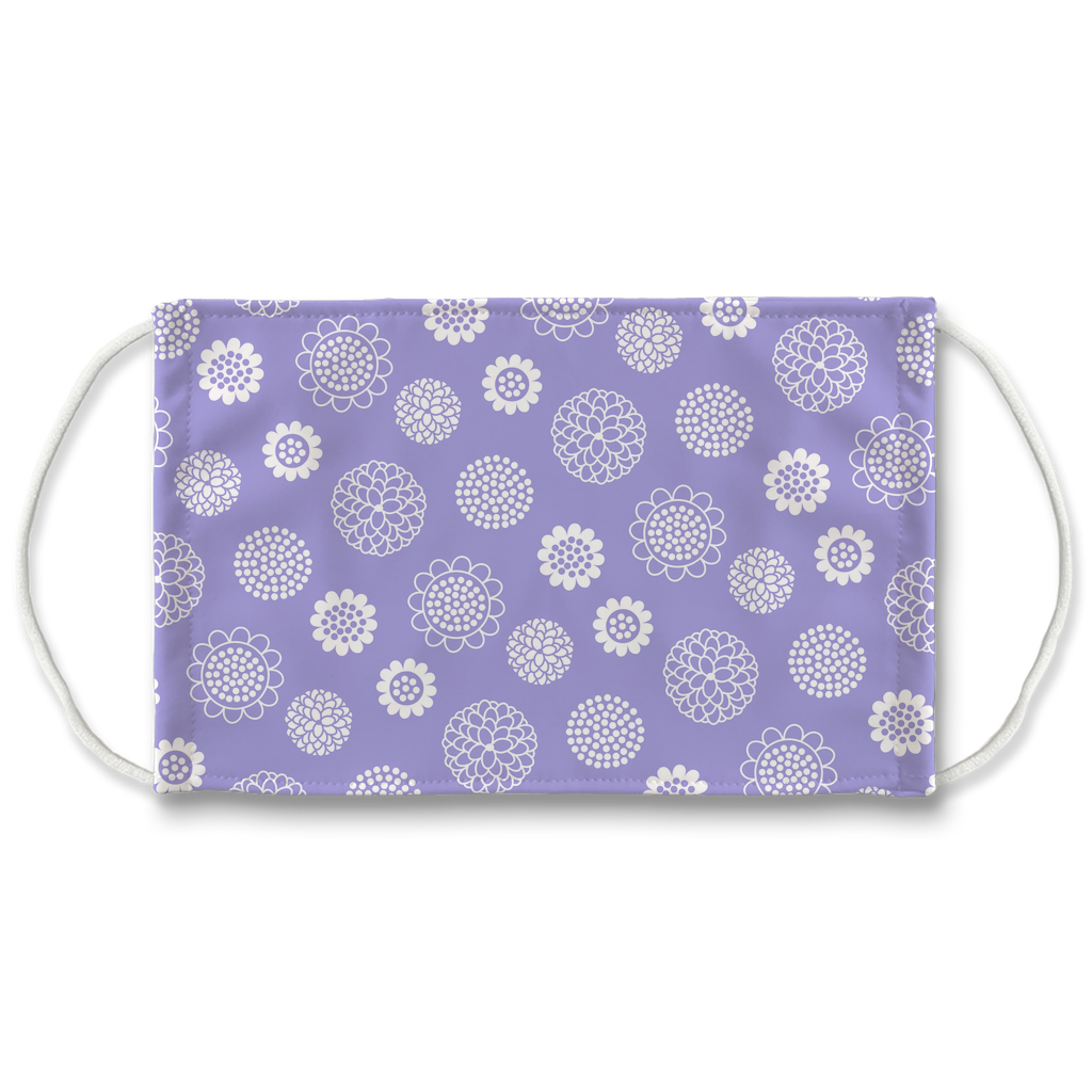 Lavender White Floral Pattern 1  Face Mask