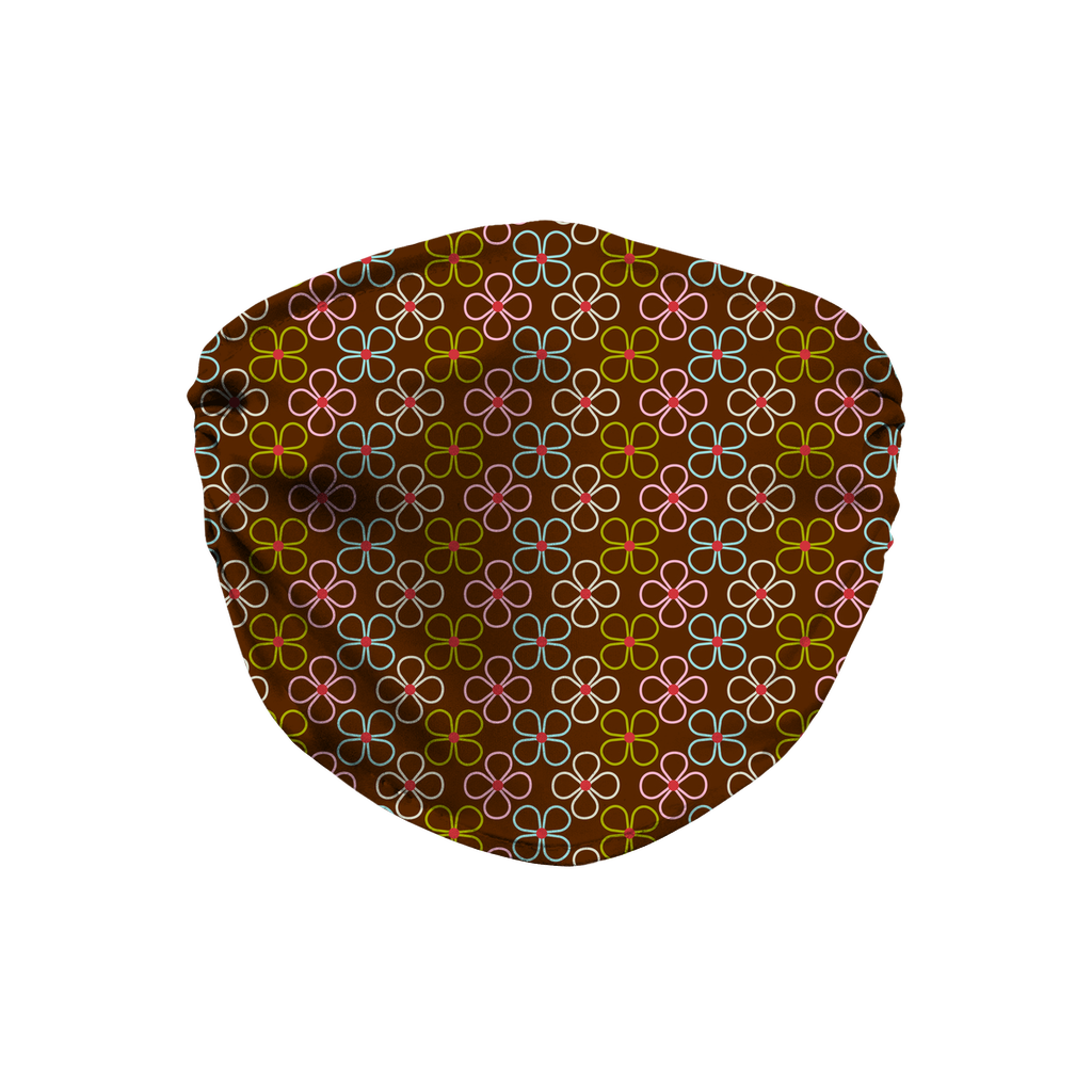 Dark Floral Geometric Pattern 1  Face Mask
