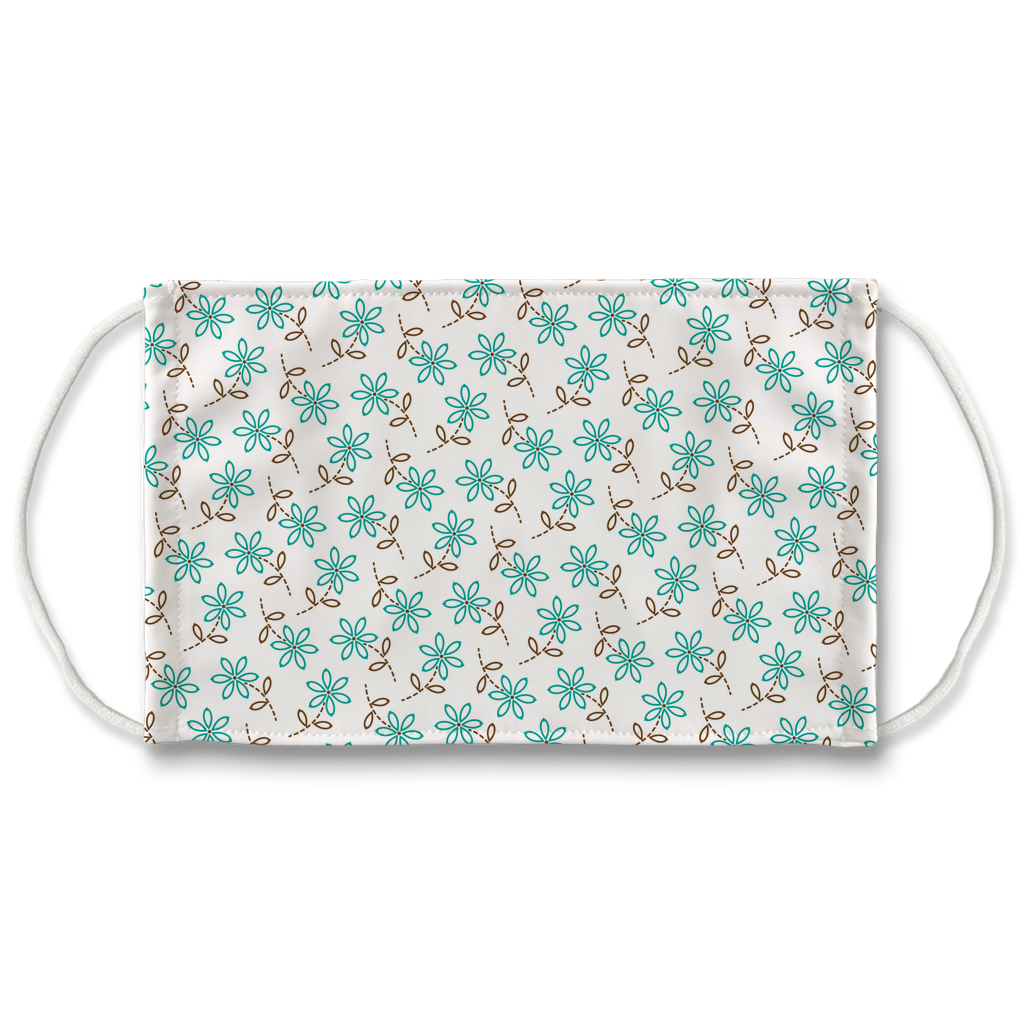 Turquoise Brown Embroidered Pattern 1  Face Mask