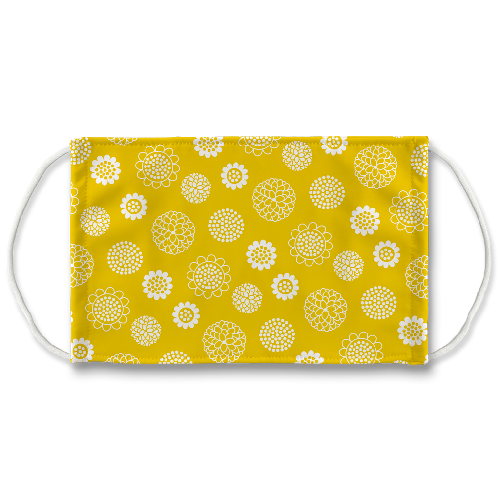 Yellow White Floral Pattern 1  Face Mask