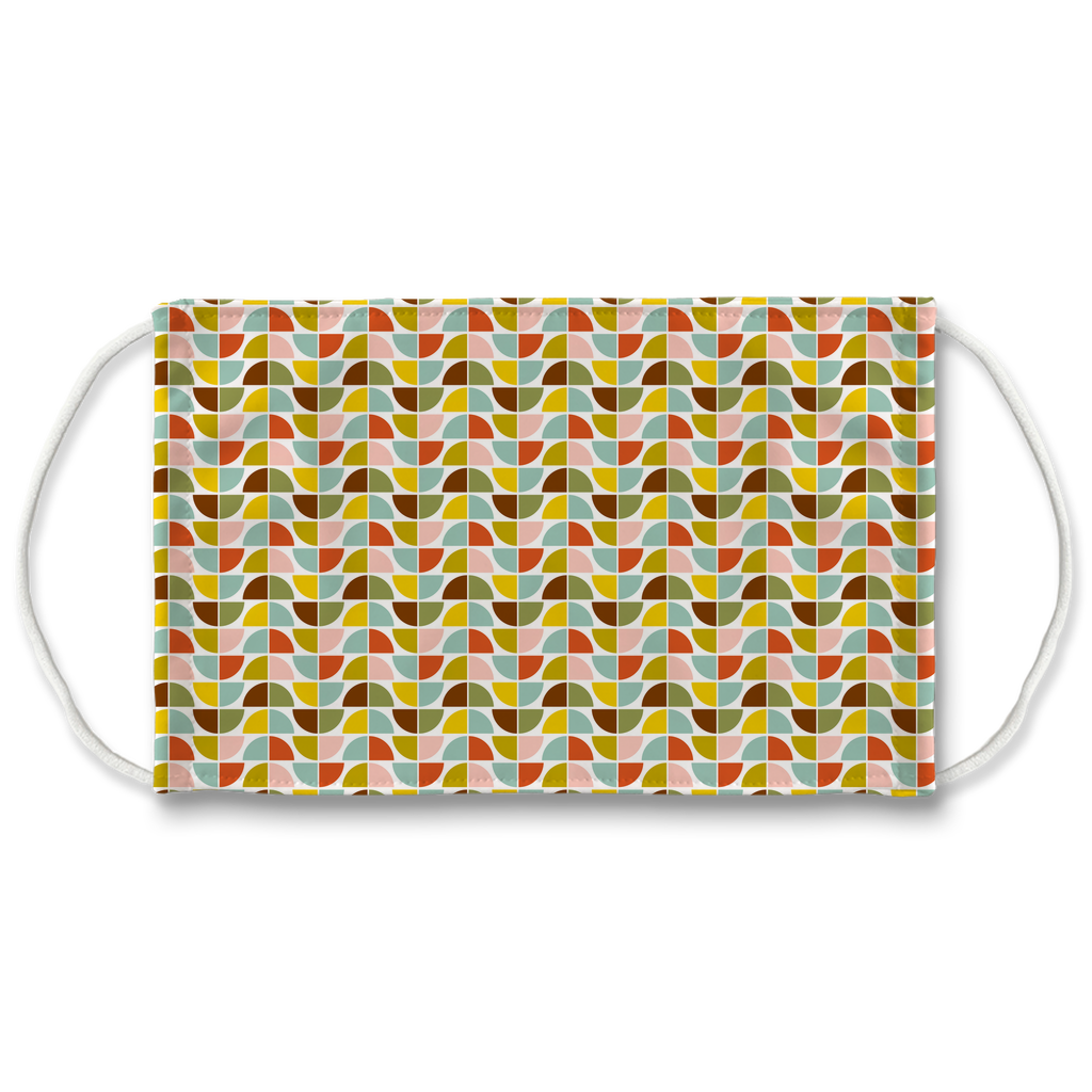 Retro Palette Geometric Pattern 3  Face Mask