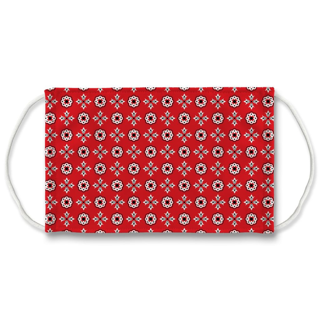 Red Bandana Pattern 12  Face Mask