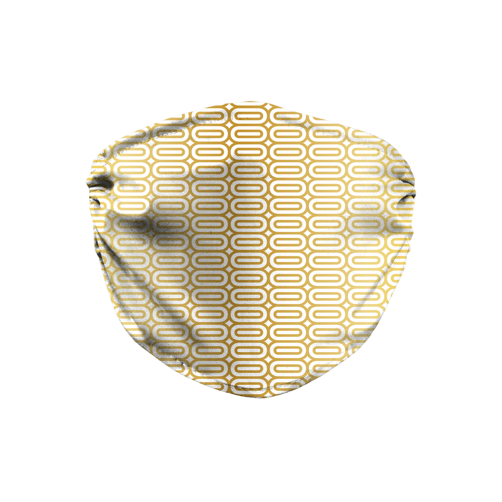 Gold White Mod Geometric 9  Face Mask