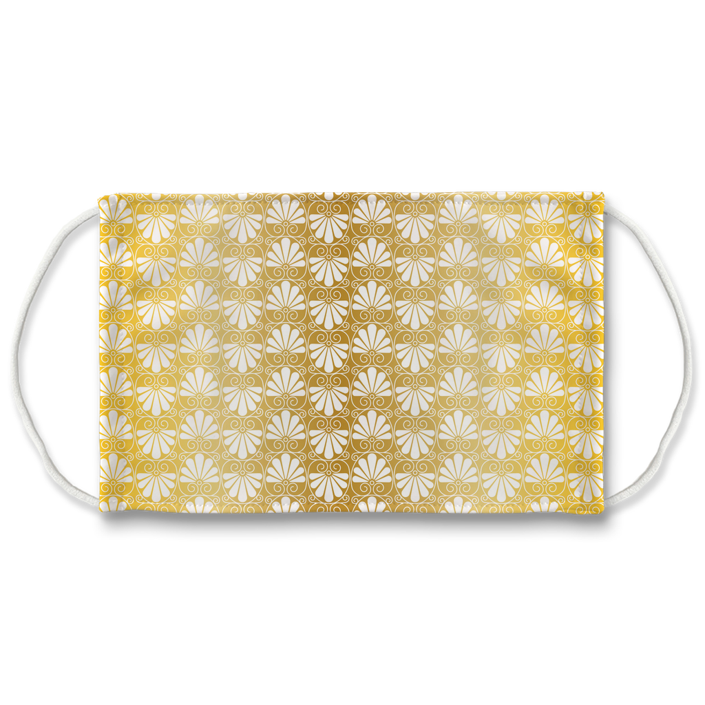 Gold Greek Ornamental Pattern 6  Face Mask
