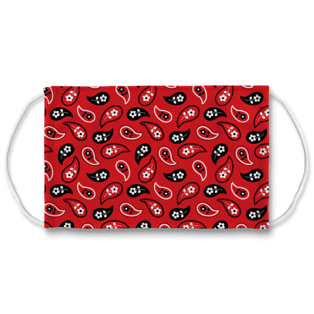 Red Bandana Pattern 11  Face Mask