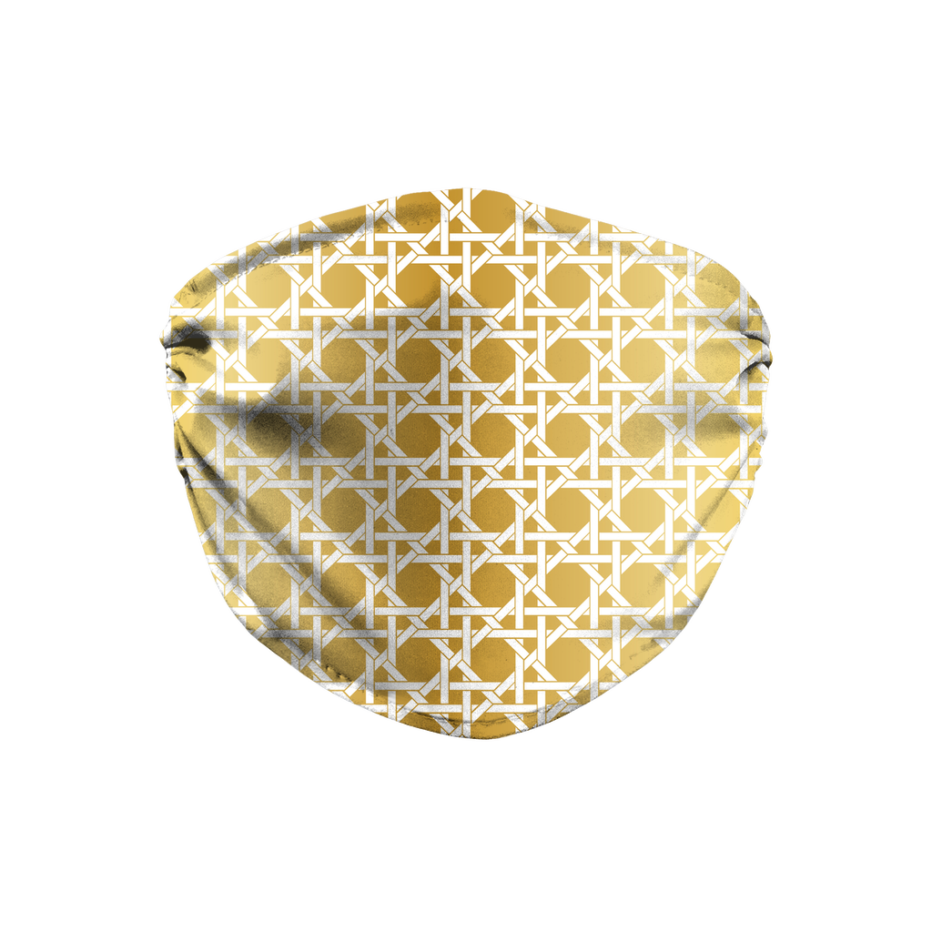 Metallic Lattice Pattern gold 4  Face Mask