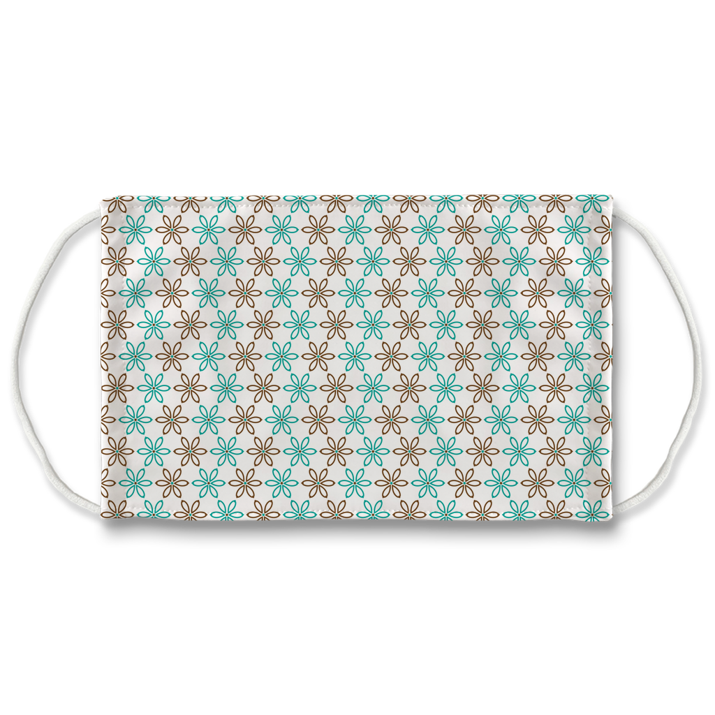 Turquoise Brown Embroidered Pattern 2  Face Mask