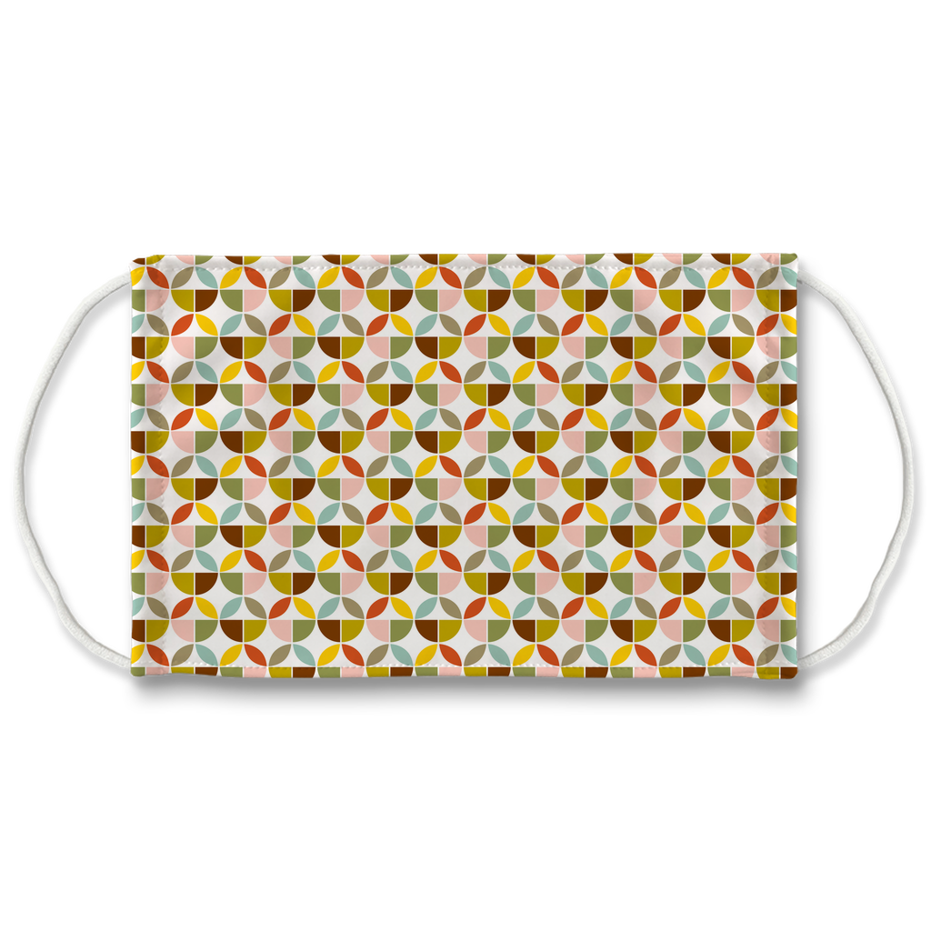 Retro Palette Geometric Pattern 6  Face Mask