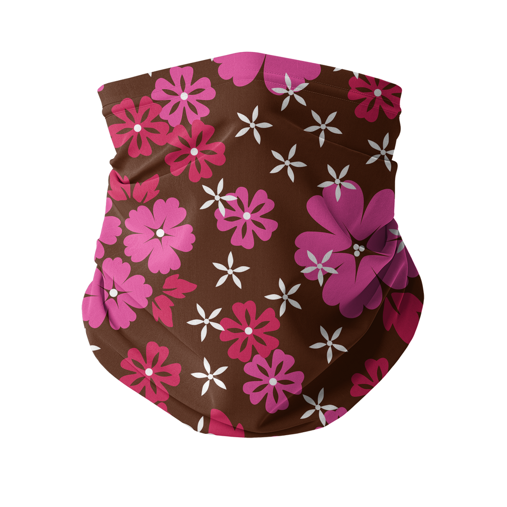 Seamless Pink Red Tropical Neck gaiter 2 Sublimation Neck Gaiter